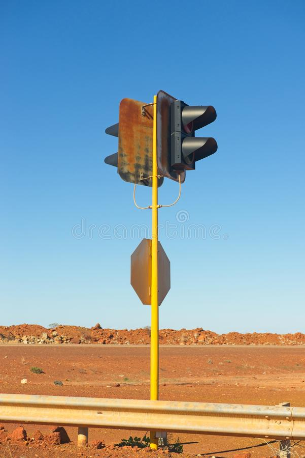 Out of service traffic light blue sky background stock images