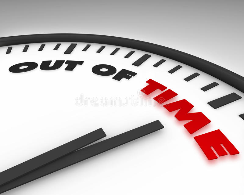 Out of Time - Clock. White clock with words Out of Time on its face stock illustration