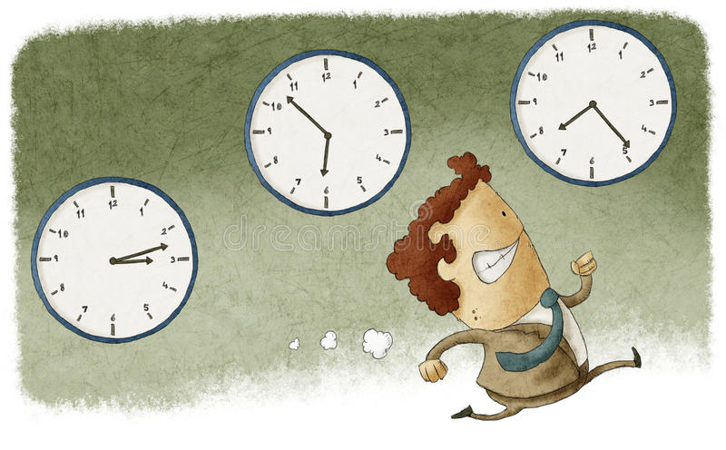 Out of time. Illustration of a businessman running out of time royalty free illustration