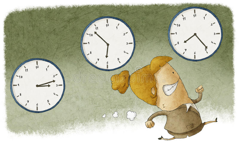 Out of time. Illustration of a businesswoman running out of time royalty free illustration