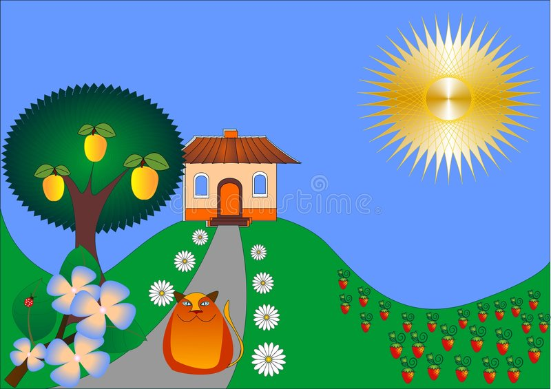 Out-of-town cottage. Abstract cottage on a hill with flowers, strawberry glade and home cat stock illustration