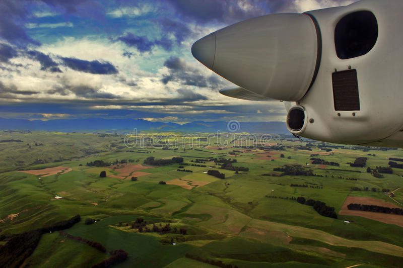Out of Town. North Island NZ country side from pilots view royalty free stock photography