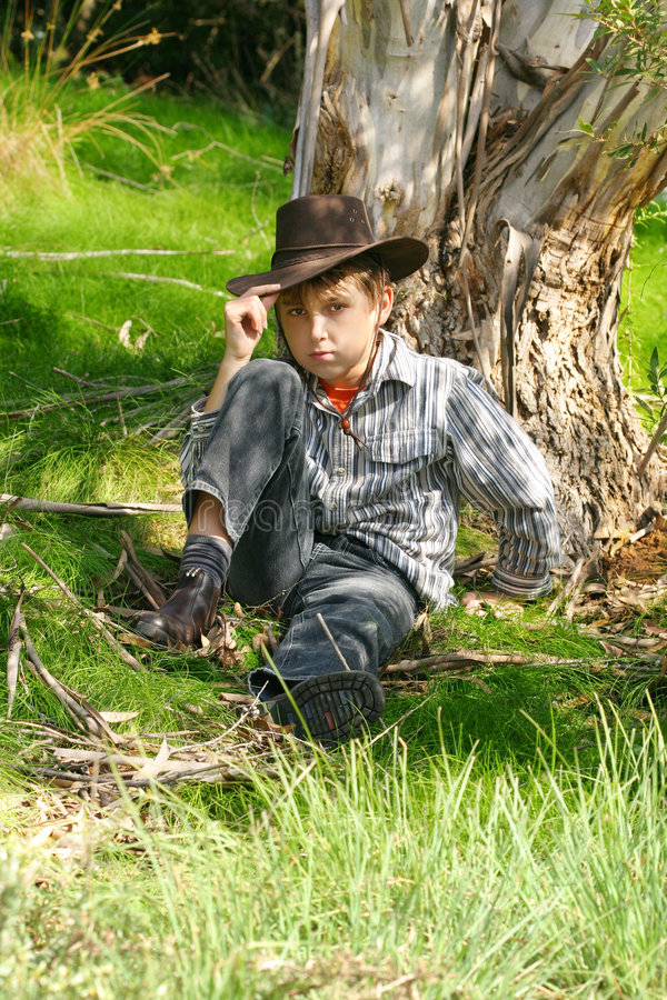 Outback Boy In Rugged Bushland Stock Photography