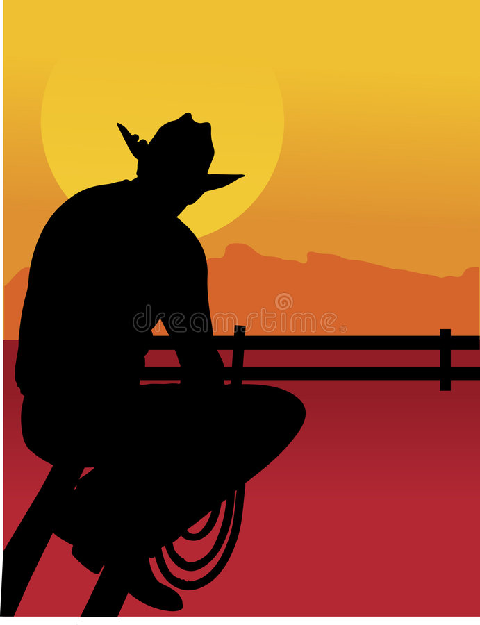 Download Outback Cowboy stock vector. Image of fence, person, sunset - 4106293