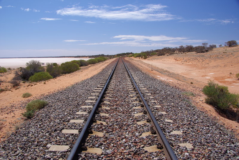 Outback Railroad. Railway lines passing by Lake Hart, a dry salt lake in the outback, near Woomera, South Australia royalty free stock images
