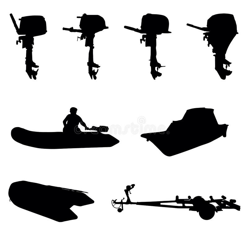 Outboar boat motor silhouette. With boat trailer vector illustration