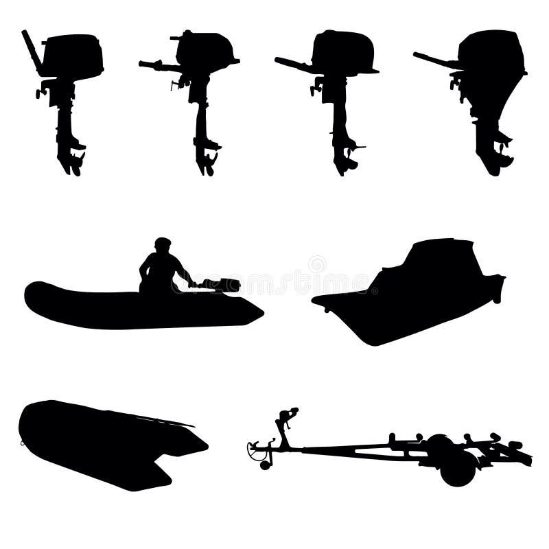 Outboar-Boots-Bewegungsschattenbild lizenzfreies stockbild