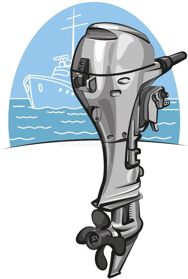 Outboard boat motor stock illustration