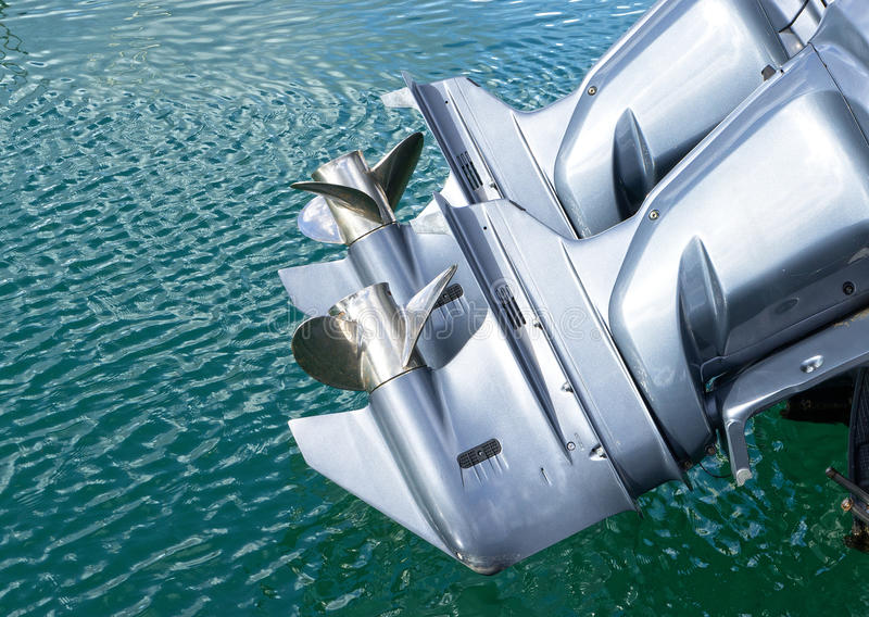 Outboard engine. On my boat royalty free stock image