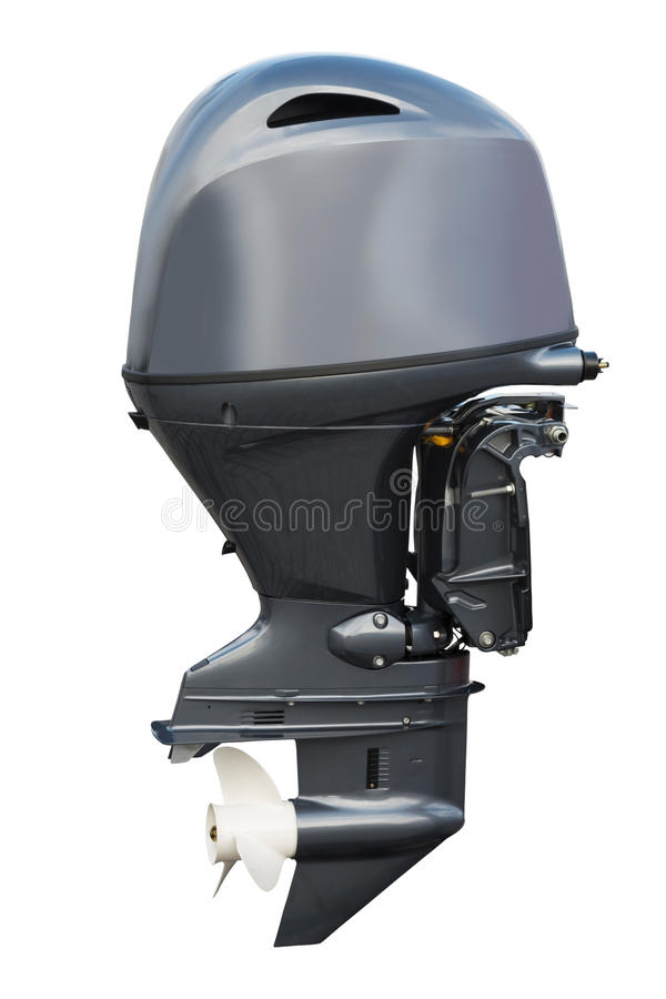 Outboard motor isolated on white background. Outboard motor system isolated on white close up royalty free stock image