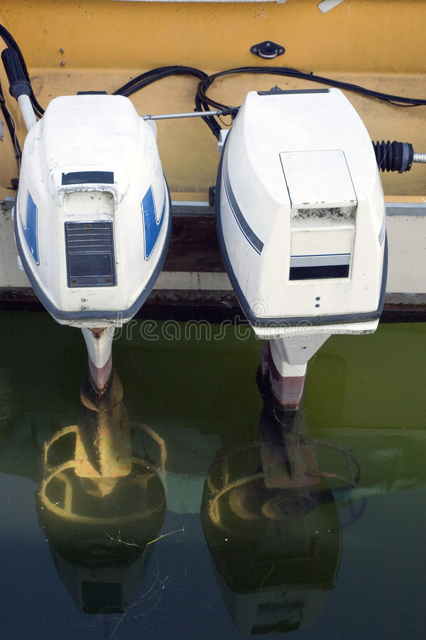 Outboard motorboat engines royalty free stock photo