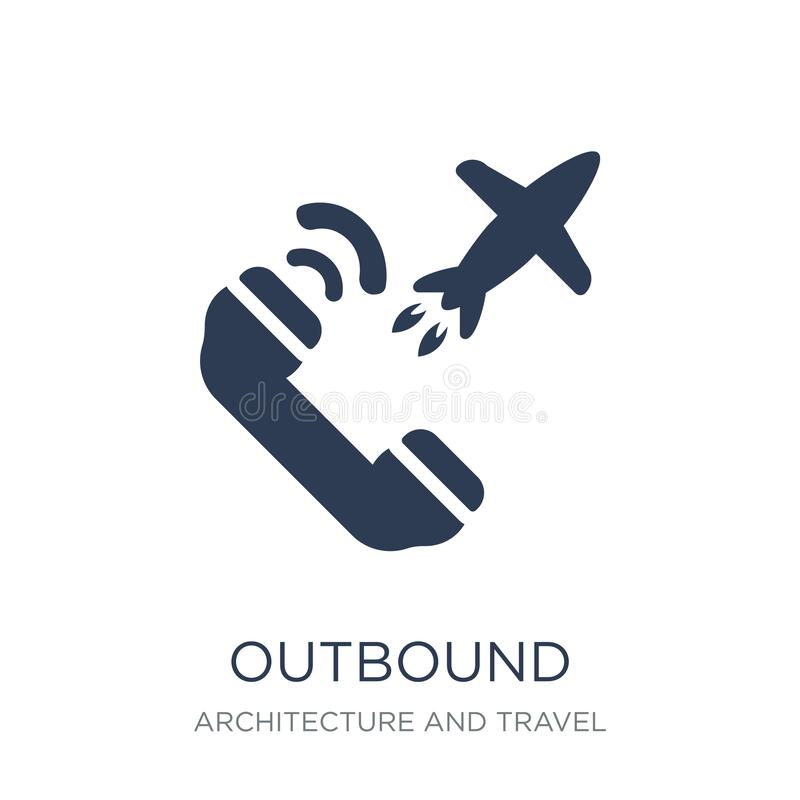 Outbound icon. Trendy flat vector Outbound icon on white background from Architecture and Travel collection stock illustration