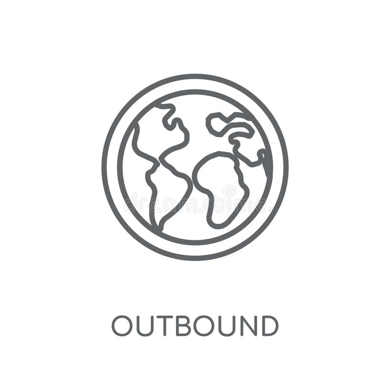 Outbound linear icon. Modern outline Outbound logo concept on wh royalty free illustration
