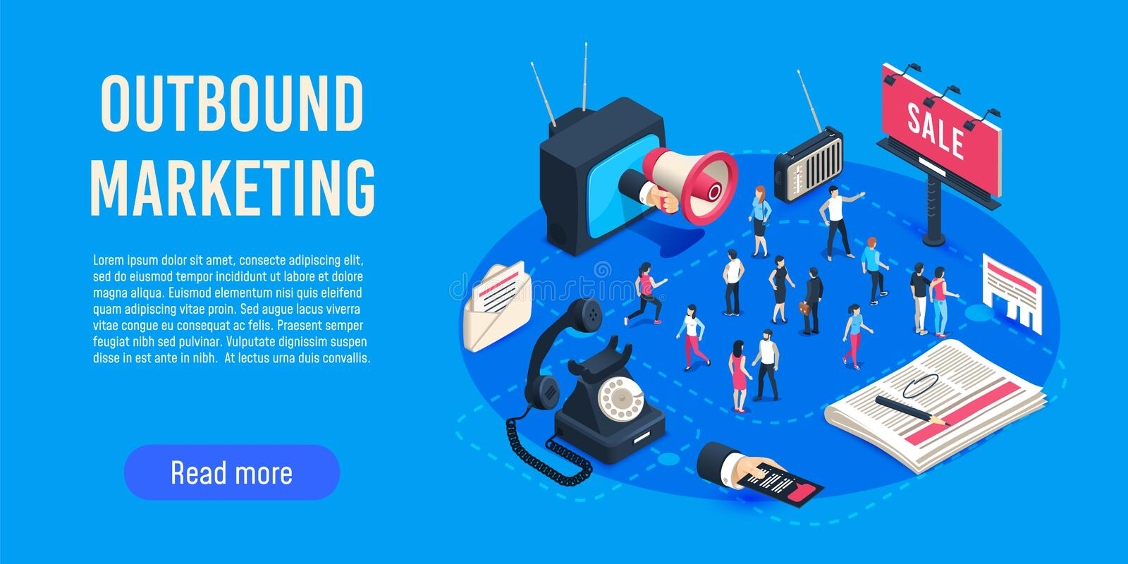 Outbound marketing isometric. Business market sales optimisation, corporate crm and social media ads communication vector illustration