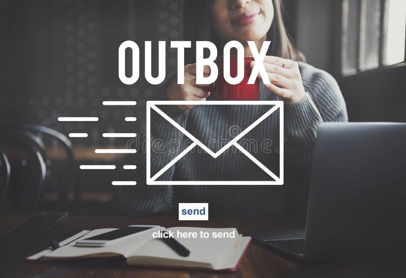 Outbox концепция глобальных связей соединения электронной почты ящика входящей почты стоковая фотография rf