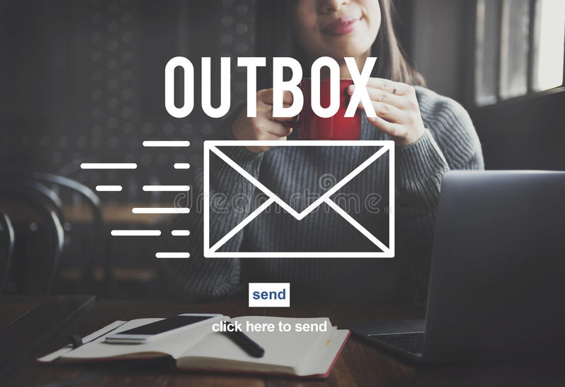 Outbox Inbox-E-Mail-Verbindungs-globale Kommunikations-Konzept lizenzfreie stockfotografie