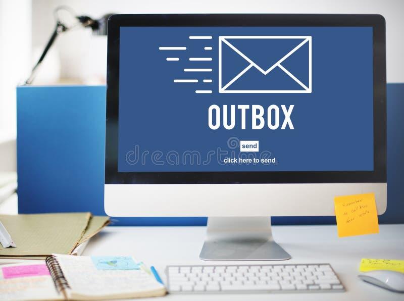 Outbox Inbox emaila Globalnych komunikacj Podłączeniowego pojęcie obraz royalty free