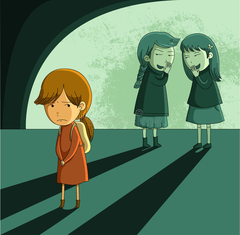 Outcast girl. Little girl being ostracized by her peers stock illustration