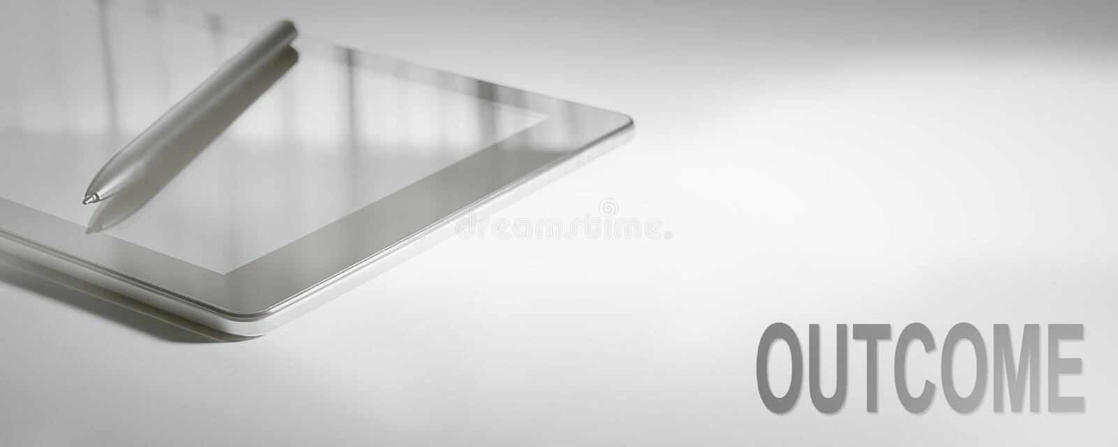 OUTCOME Business Concept Digital Technology. stock photo