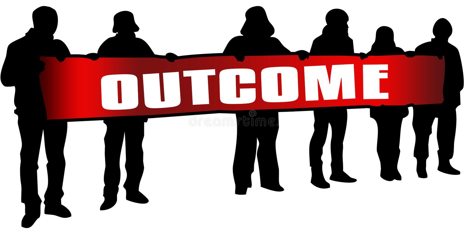 OUTCOME on red banner held by people silhouettes at rally. Illustration vector illustration