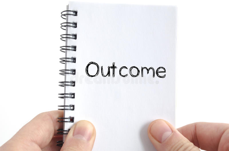Outcome text concept stock photos