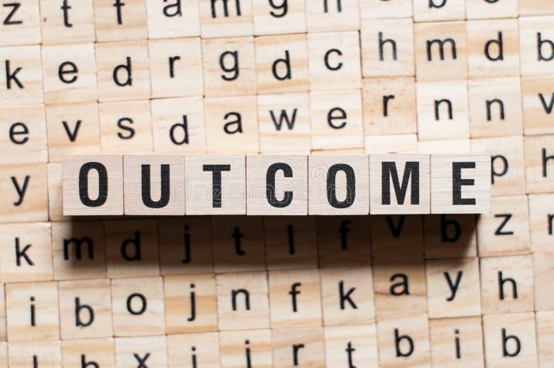 Outcome word concept stock photo