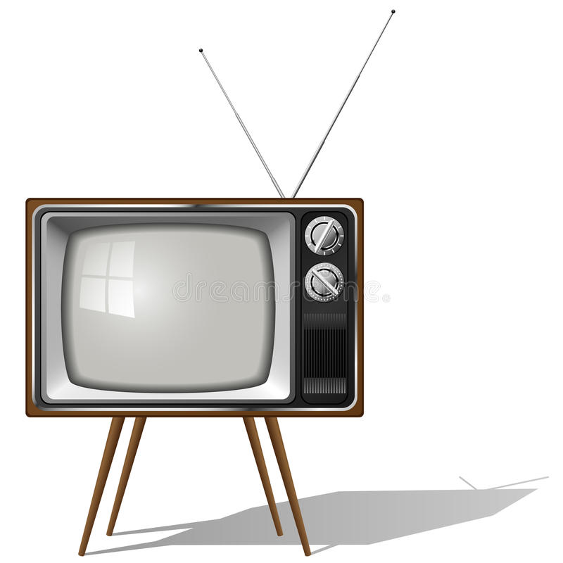 Outdated TV-set. Vector illustration of old-fashioned four legged TV set isolated on white background royalty free illustration
