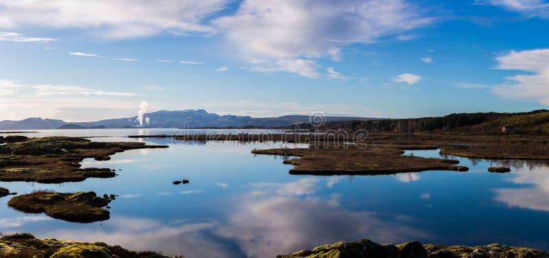Outddors islandais de nature à l'usine géothermique de Silfra photographie stock