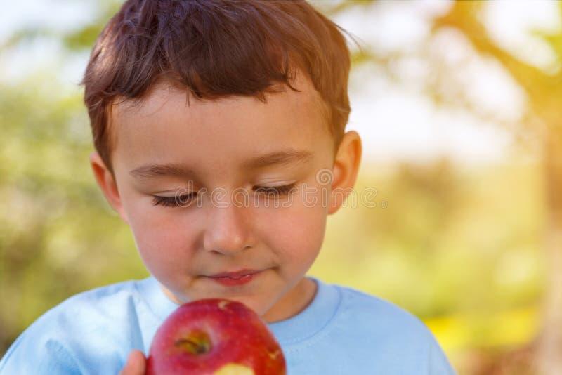 Outdoo al aire libre del copyspace de la fruta de la manzana de la consumición del niño pequeño del niño del niño foto de archivo