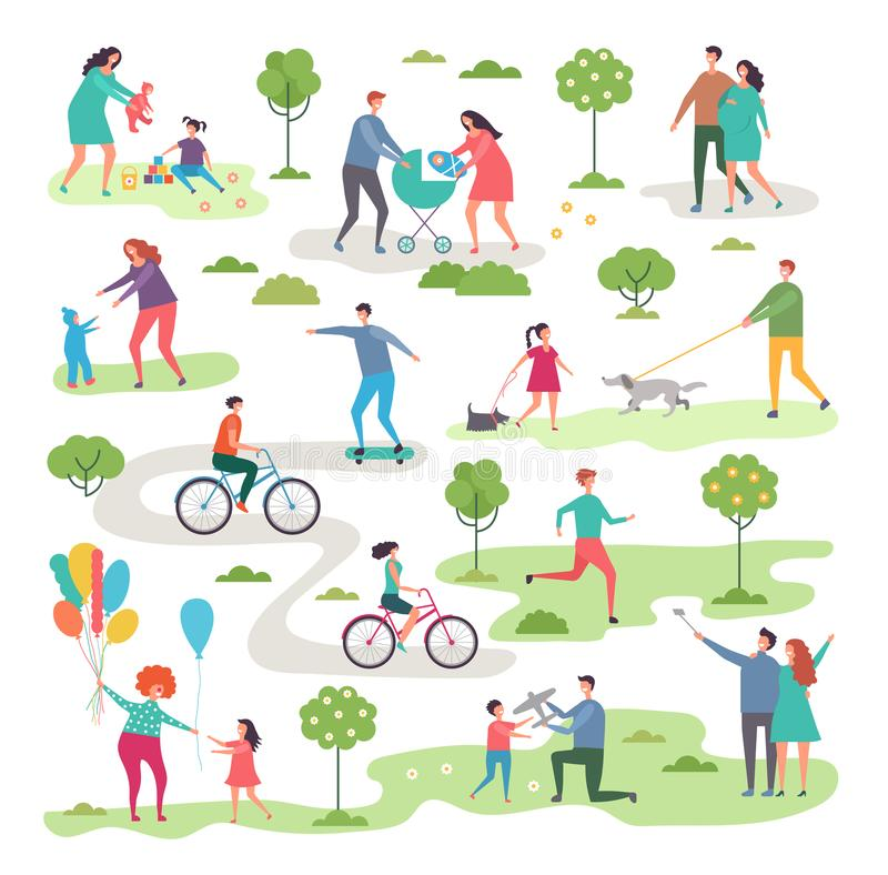 Outdoor activism in urban park. Bicycle riders and walking peoples. Landscape nature, activity bicycle sport illustration vector royalty free illustration