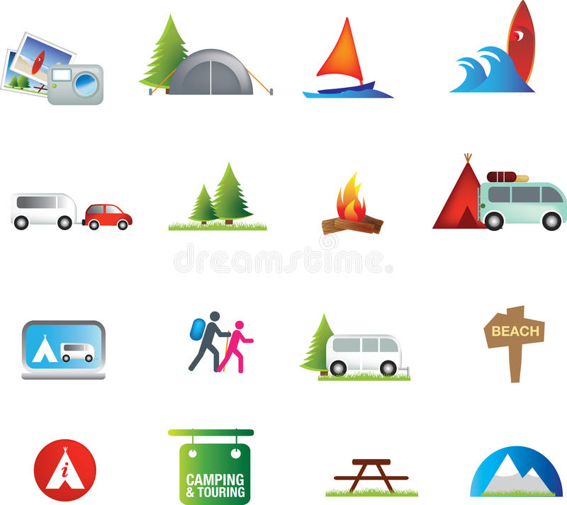 Download Outdoor Activities And Camping Caravanning Icon Set Stock Vector