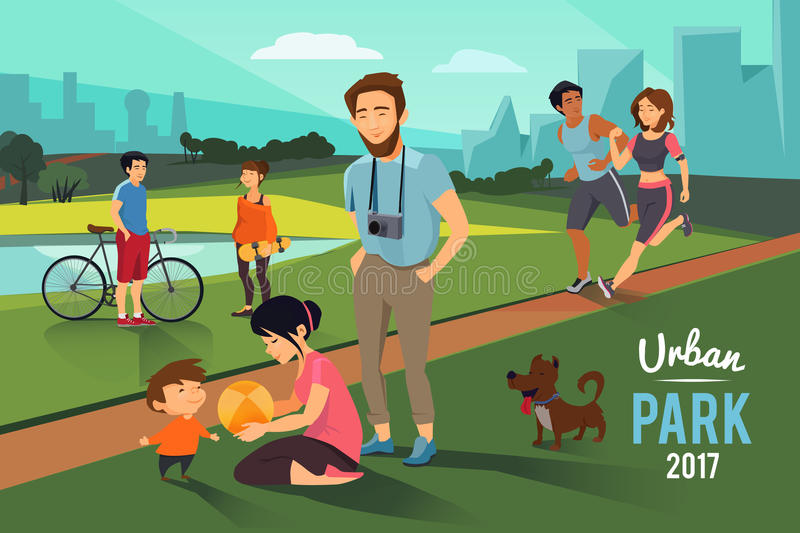 Outdoor activities in urban park. Happy family with kid, runners couple, Vector background stock illustration