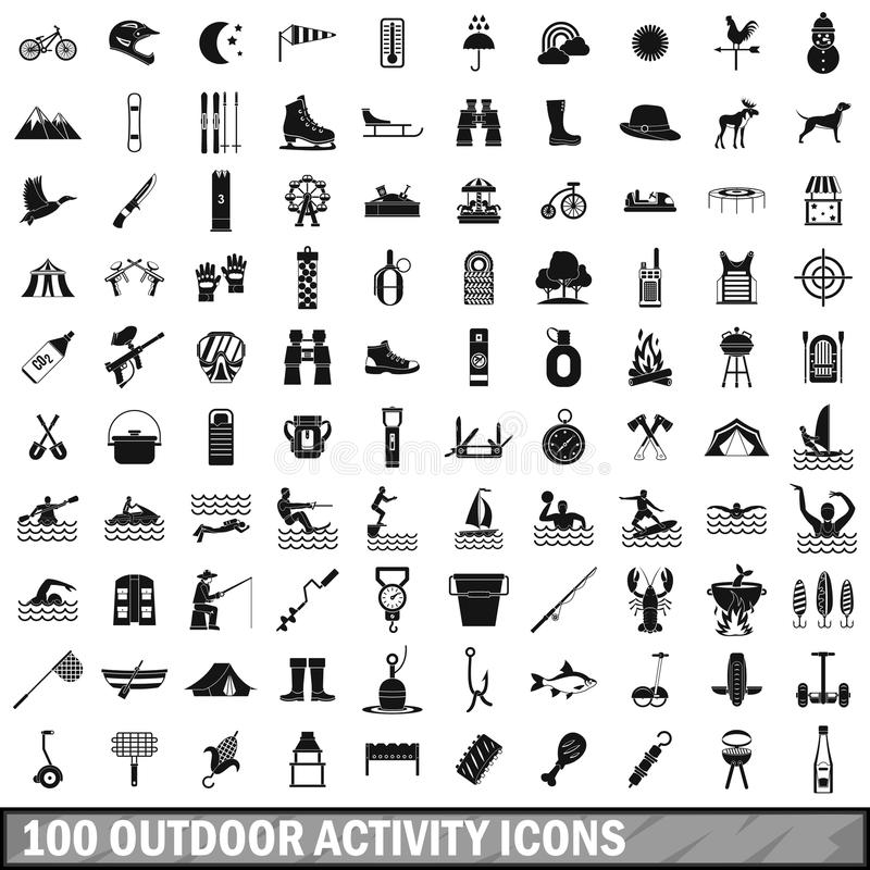 100 outdoor activity icons set, simple style stock illustration