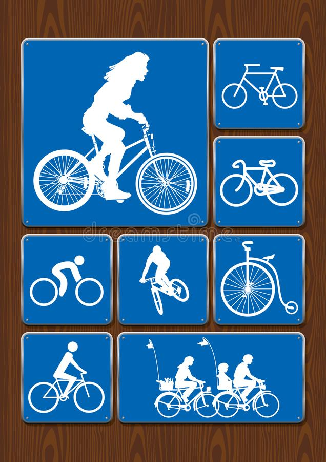 Outdoor activity icons set: woman on bicycle, cycling, family on walk, old bicycle. Icons in blue color on wooden background royalty free illustration