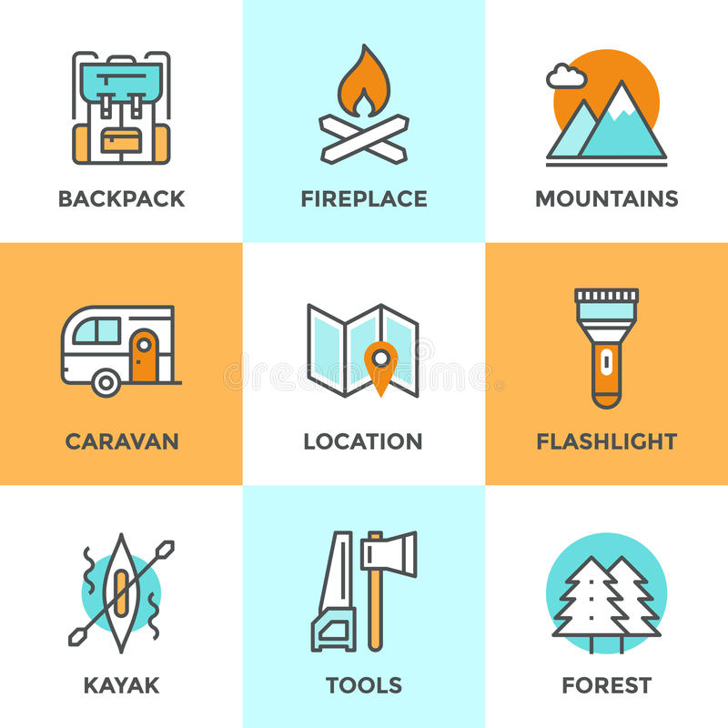 Outdoor adventure line icons set. Line icons set with flat design elements of outdoor adventure, tourist trip, hiking equipment, mountain climbing, forest and stock illustration