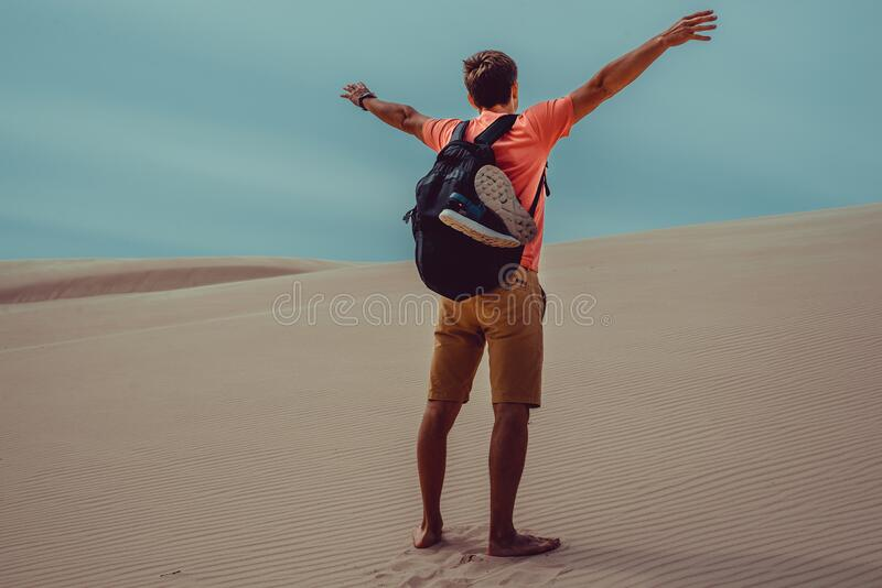Outdoor Adventure. Traveler with backpack explore world. Man freedom travel. Backpacker holiday. Active lifestyle. Poland Europe. Vacation. Harmony concept stock image