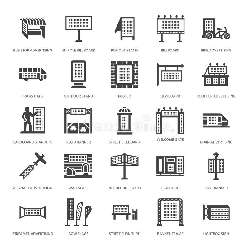 Outdoor advertising, commercial marketing flat glyph icons. Billboard, street signboard, transit ads, posters banner. Promotion design element. Trade objects vector illustration