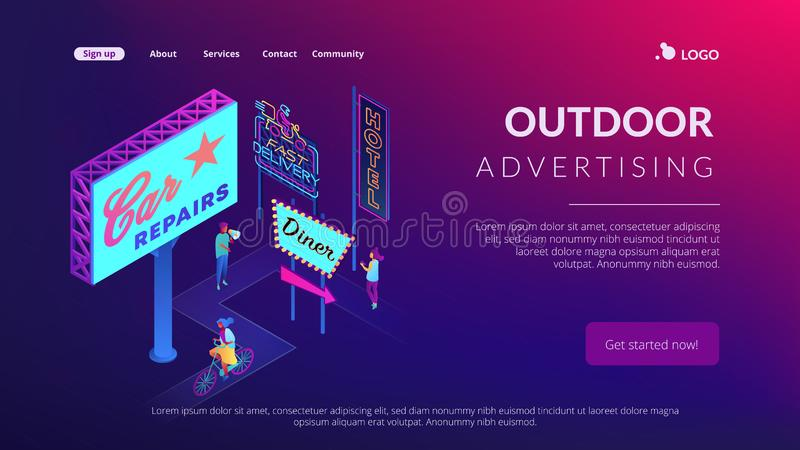 Outdoor advertising design isometric 3D landing page. royalty free illustration