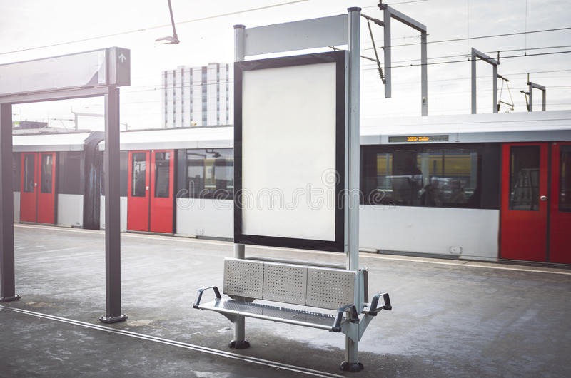 Outdoor advertising. Outdoor kiosk city advertising in Amsterdam royalty free stock photos
