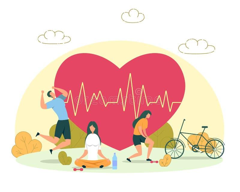 Outdoor-Aktivität für das Konzept des Herzgesundheitsvektors vektor abbildung