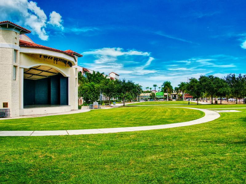 Outdoor Amphitheater in the middle of town stock image