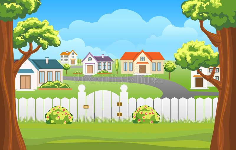 Outdoor backyard background cartoon illustration. Outdoor backyard background cartoon vector illustration. Home sunny suburb patio courtyard area with grass and stock illustration