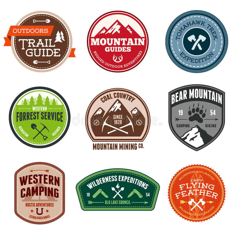 Outdoor badges royalty free illustration