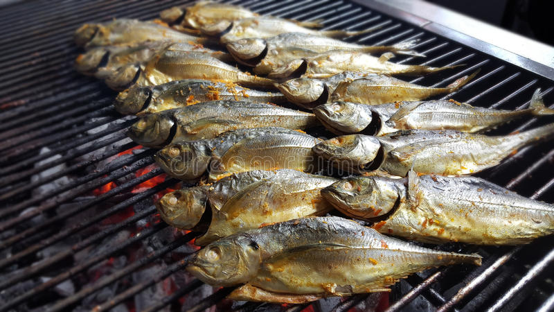The outdoor barbecue corner serves freshly grilled fish on hot c stock photos