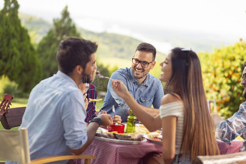 Outdoor barbecue party. Group of friends having an outdoor barbecue lunch, eating grilled meat, drinking beer and having fun stock photography