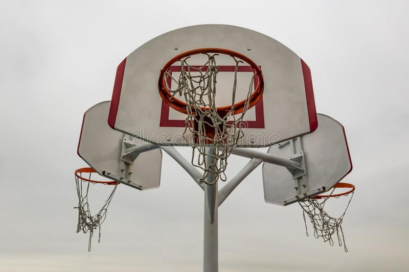 Outdoor basket hoops for basketball game stock image