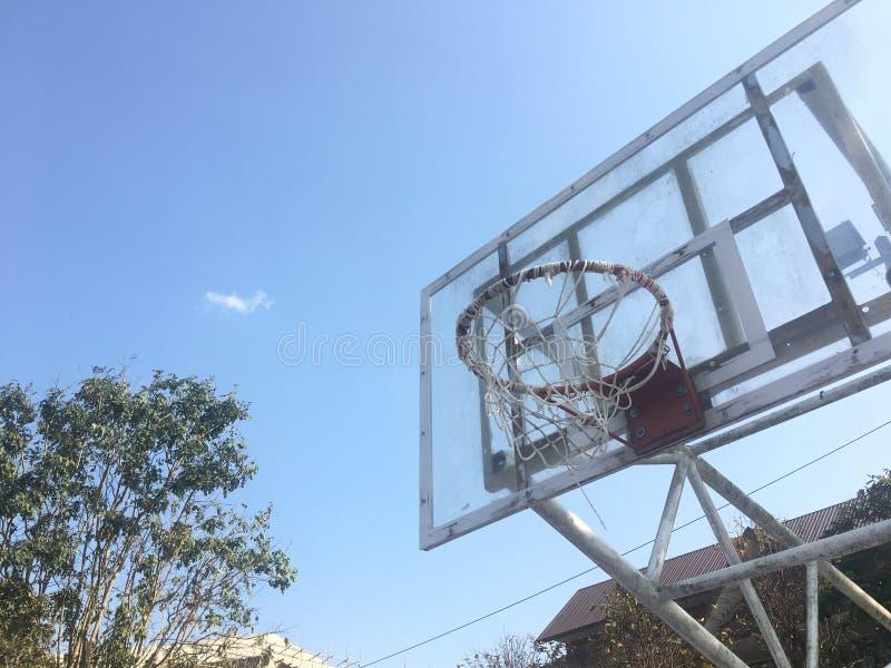 Outdoor basketball hoops. stock photos