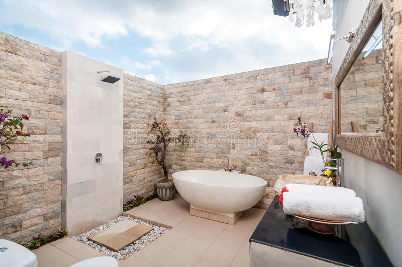 Outdoor Bathup with shower royalty free stock photos