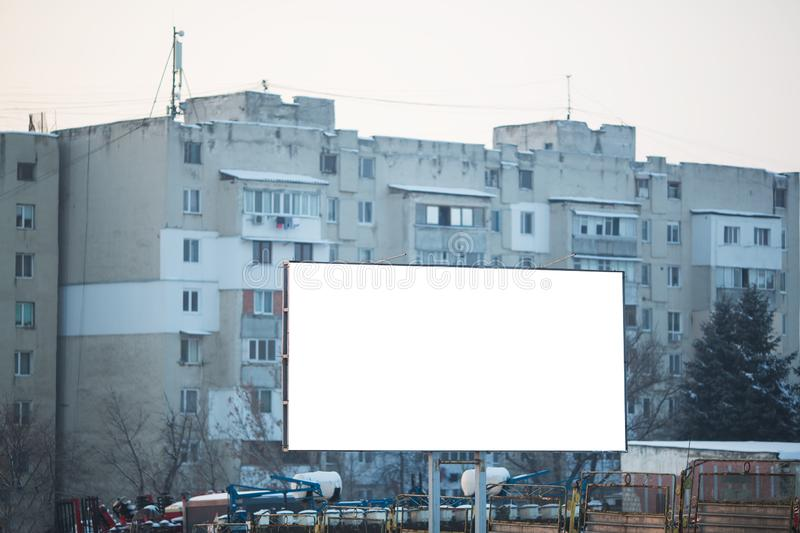 Outdoor billboard blank for advertising poster with mockup. royalty free stock photography