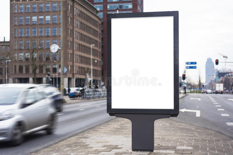 Outdoor billboard. Outdoor kiosk city advertising in Amsterdam stock photography